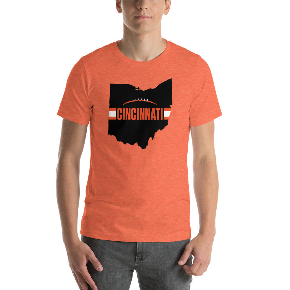 Cincinnati Football Ohio Outline Short-Sleeve Unisex T-Shirt (Black Design)