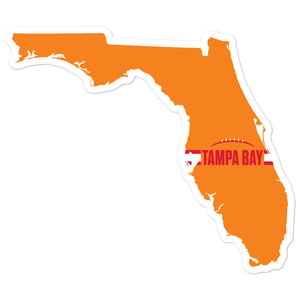 Load image into Gallery viewer, Tampa Bay Football Florida Outline Sticker (Orange Design)