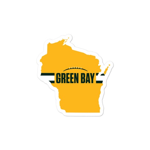 Green Bay Football Wisconsin Outline Sticker (Yellow Design)