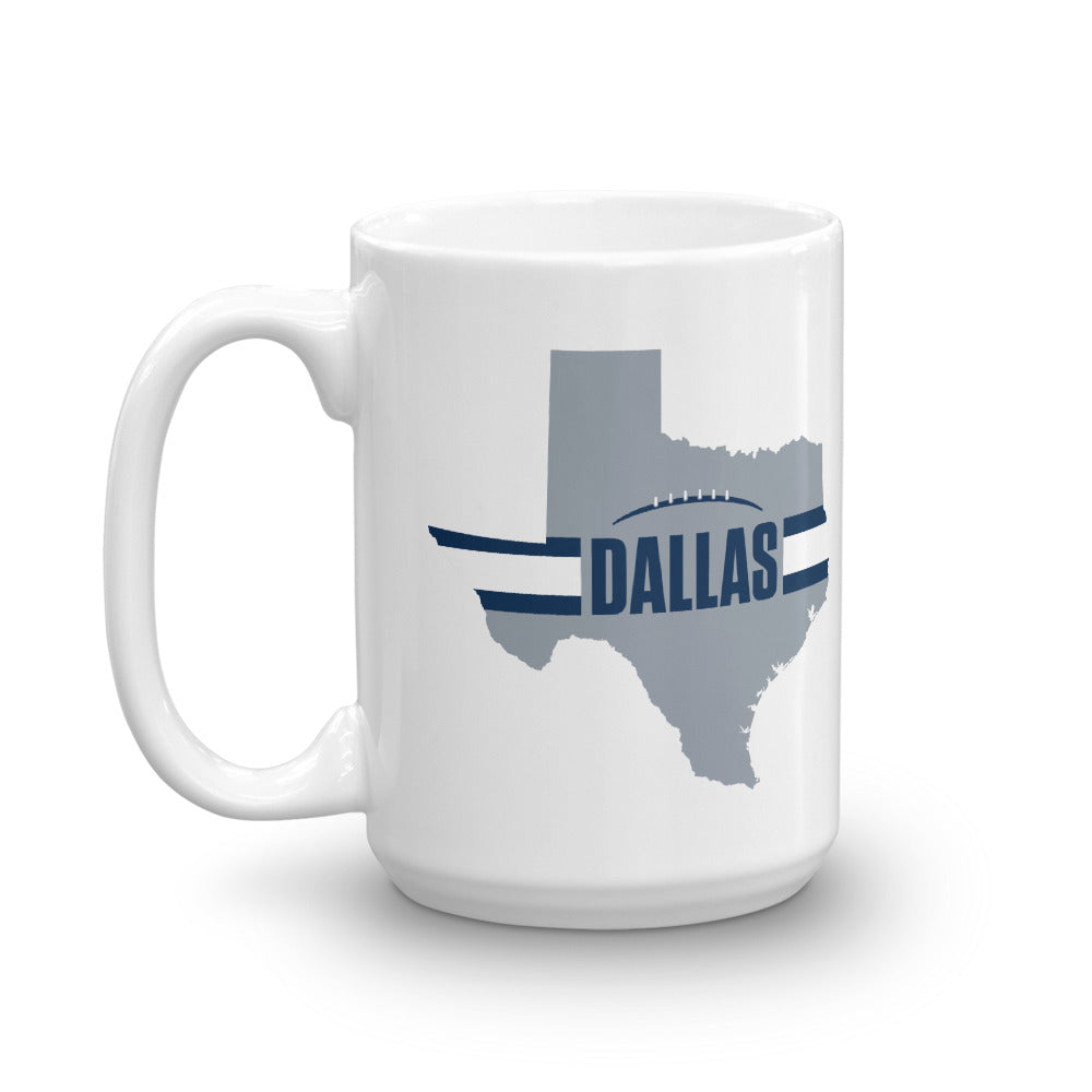 Dallas Football Texas Outline Mug (Silver Design)