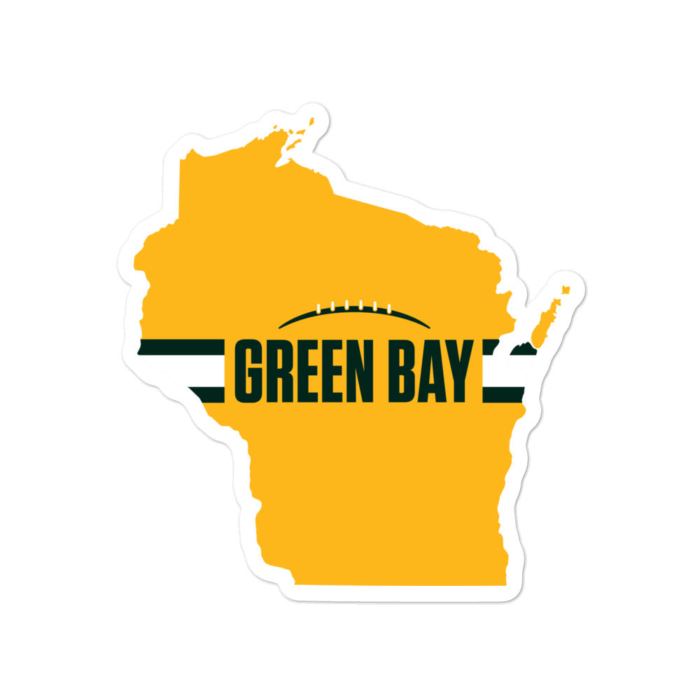 Load image into Gallery viewer, Green Bay Football Wisconsin Outline Sticker (Yellow Design)