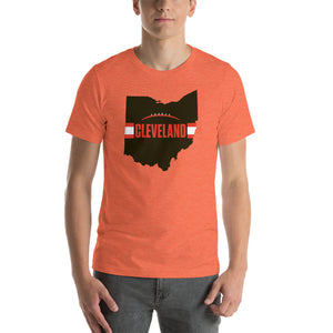 Cleveland Football Ohio Outline Short-Sleeve Unisex T-Shirt (Brown Design)