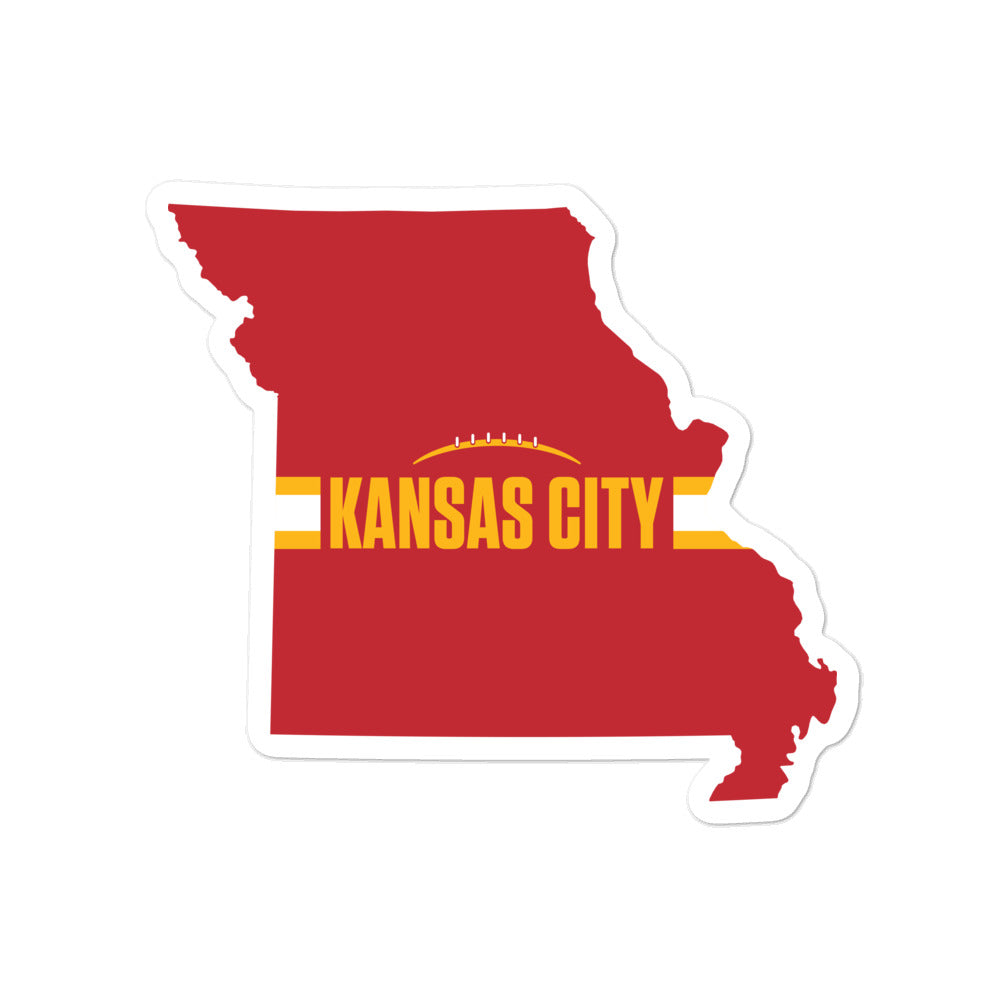 Kansas City Football Missouri Outline Red Sticker 5.5 x 5.5