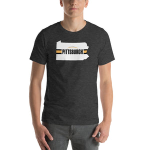 Pittsburgh Football Pennsylvania Outline Short-Sleeve Unisex T-Shirt (White Design)