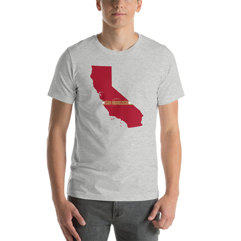 San Francisco Football California Outline Short-Sleeve Unisex T-Shirt (Red Design)