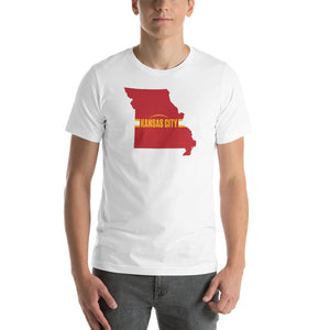 Load image into Gallery viewer, Kansas City Football Missouri Outline Short-Sleeve Unisex White T-Shirt - Red Design