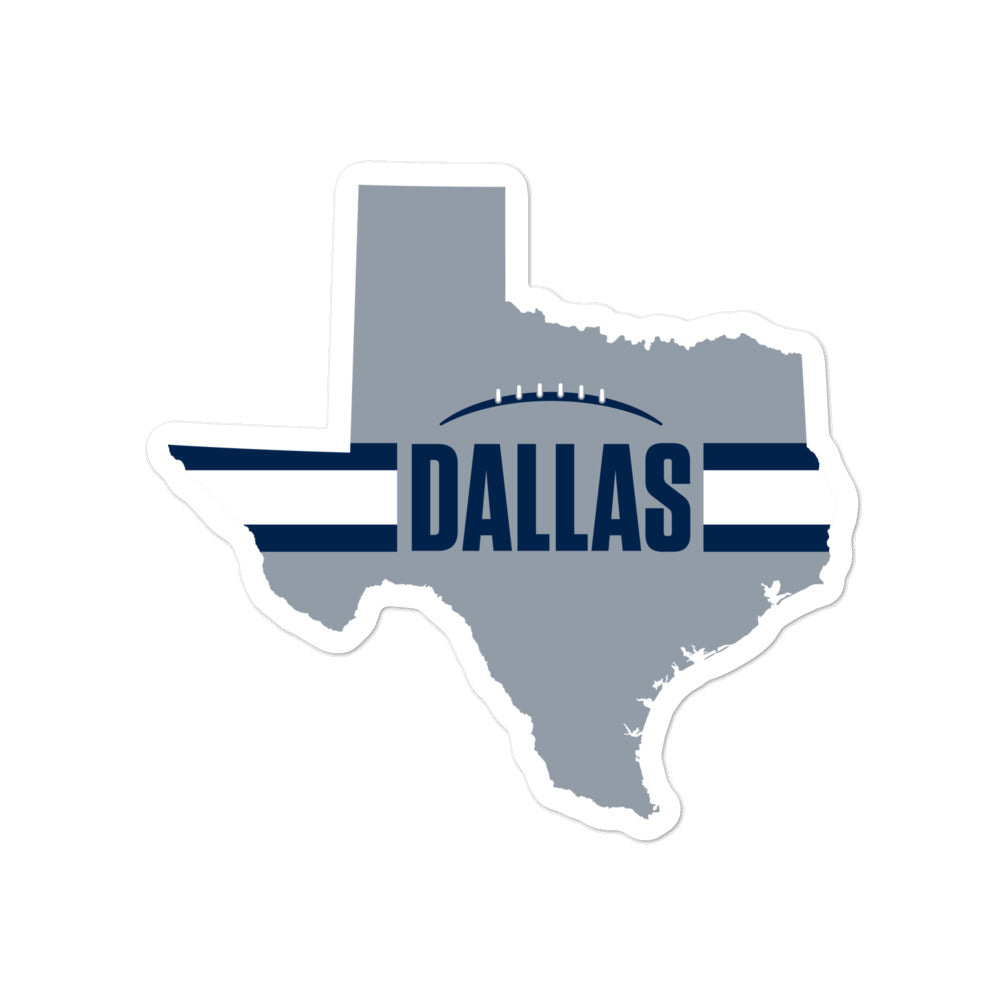 Dallas Football Texas Outline Sticker (Silver Design)