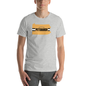 Load image into Gallery viewer, Pittsburgh Football Pennsylvania Outline Short-Sleeve Unisex T-Shirt (Gold Design)