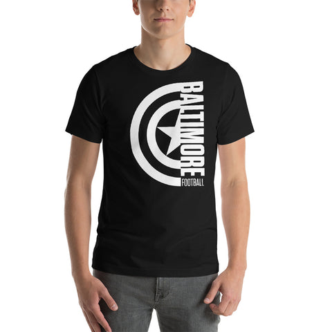 Captain Baltimore Football Short-Sleeve Unisex T-Shirt (White Design)