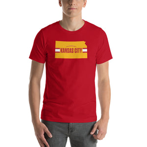 Load image into Gallery viewer, Kansas City Football Kansas Outline Red T-Shirt - Yellow Design