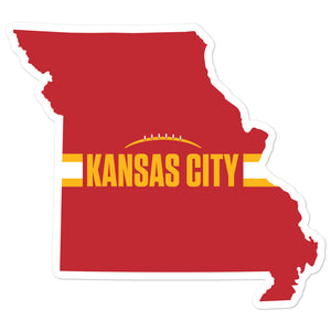 Kansas City Football Missouri Outline Red Sticker 4 x 4