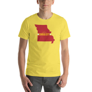 Load image into Gallery viewer, Kansas City Football Missouri Outline Short-Sleeve Unisex Yellow T-Shirt - Red Design
