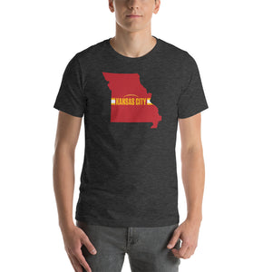 Load image into Gallery viewer, Kansas City Football Missouri Outline Short-Sleeve Unisex Dark Grey Heather T-Shirt - Red Design