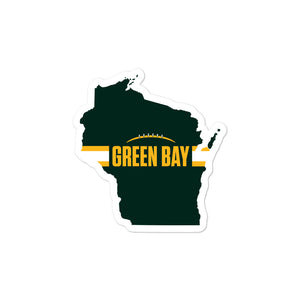 Load image into Gallery viewer, Green Bay Football Wisconsin Outline Sticker (Green Design)