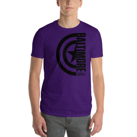 Captain Baltimore Football Short-Sleeve Unisex T-Shirt Alt (Black Design)