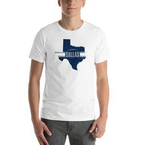 Dallas Football Texas Outline Short-Sleeve Unisex T-Shirt (Blue Design)