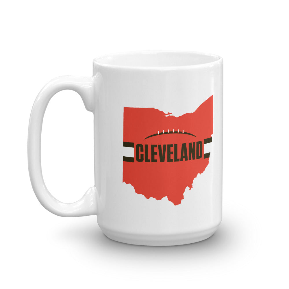 Load image into Gallery viewer, Cleveland Football Ohio Outline Mug (Orange Design)