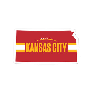 Kansas City Football Kansas Outline Red Sticker Decal 5.5 x 5.5