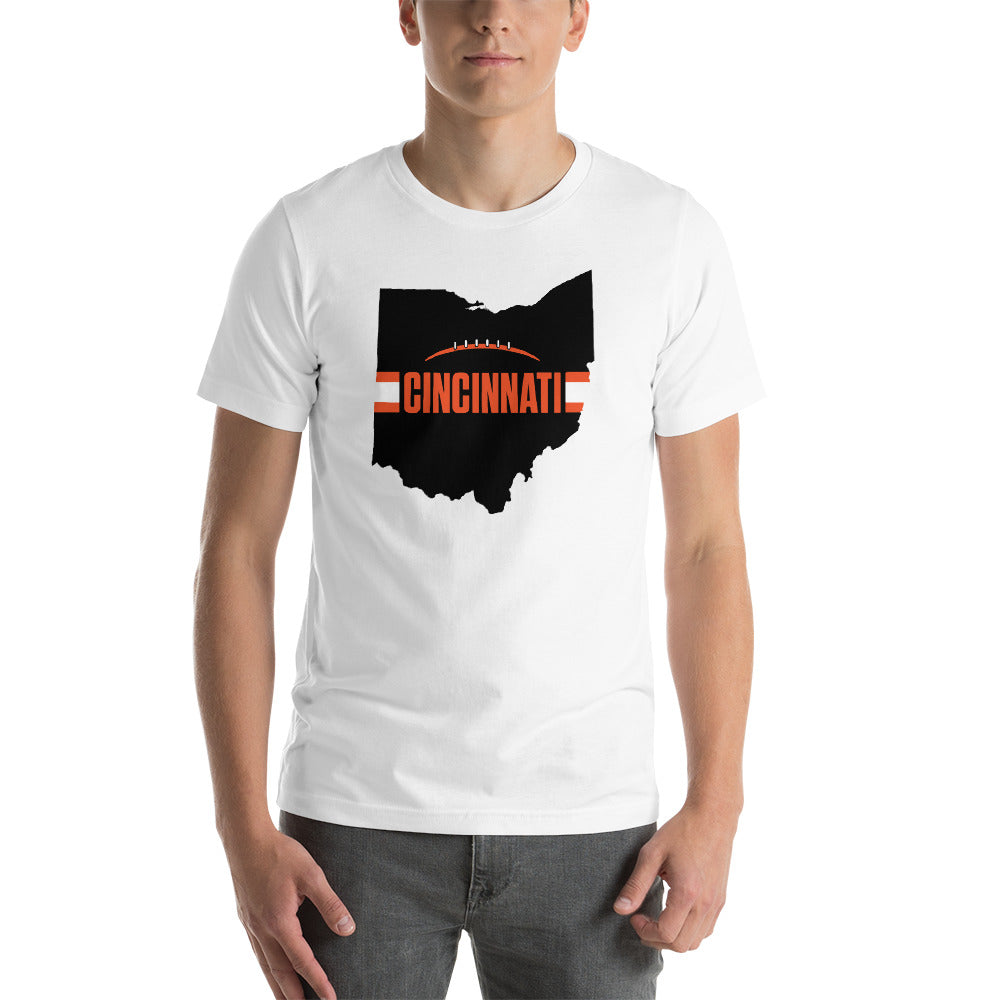 Load image into Gallery viewer, Cincinnati Football Ohio Outline Short-Sleeve Unisex T-Shirt (Black Design)