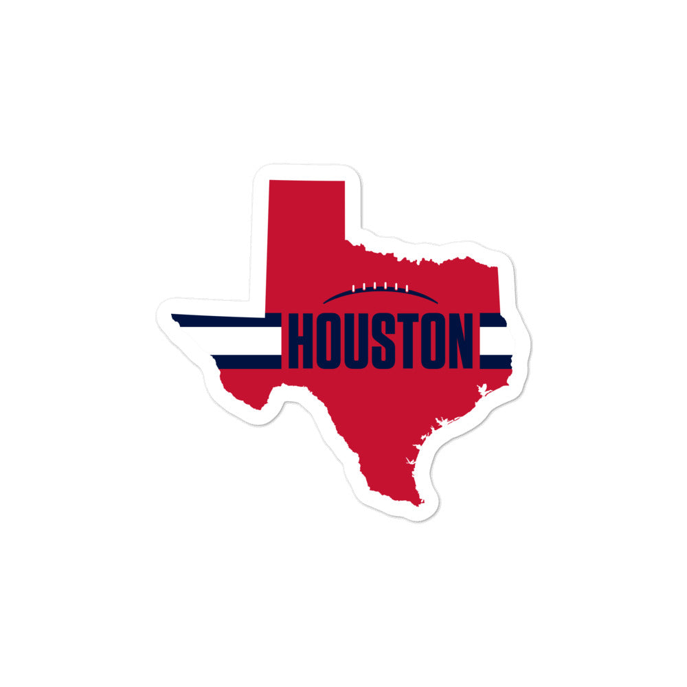 Houston Football Texas Outline Sticker (Red Design)