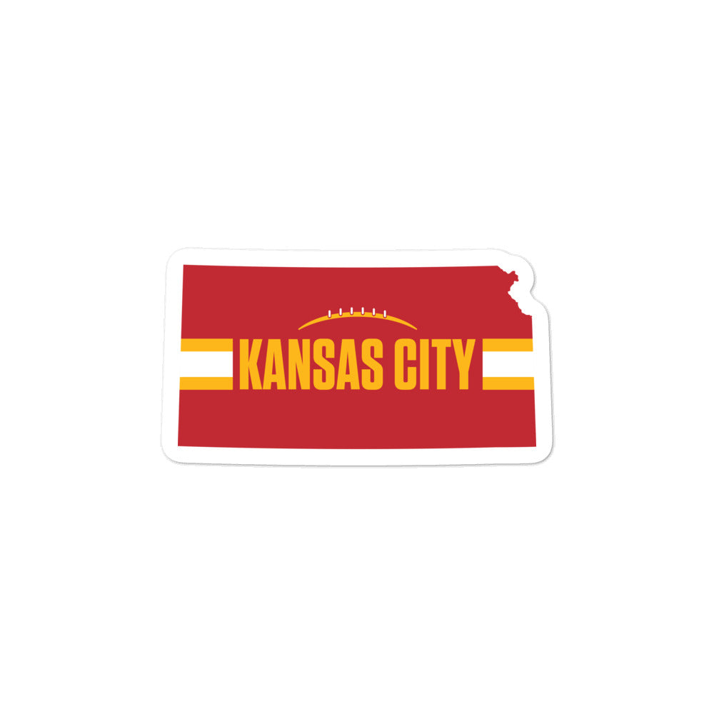 Kansas City Football Kansas Outline Red Sticker Decal 3 x 3