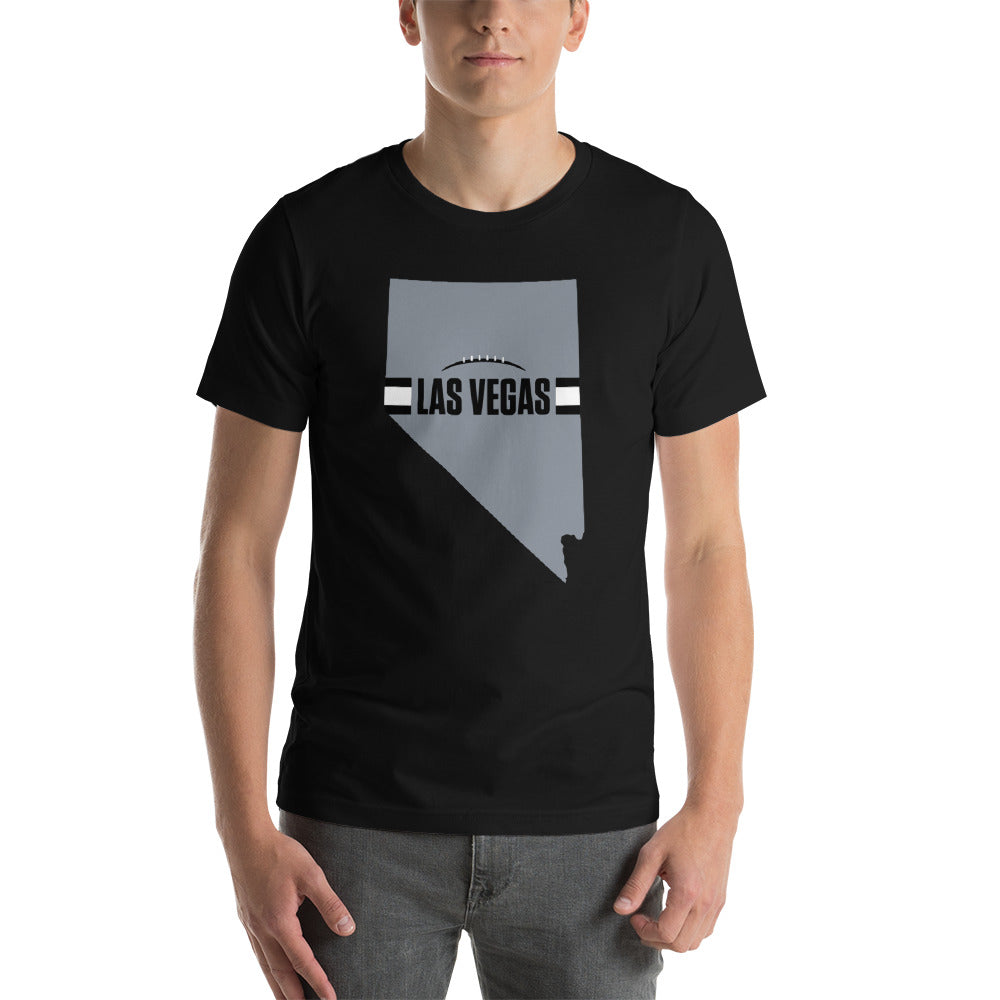 Load image into Gallery viewer, Las Vegas Football Nevada Outline Short-Sleeve Unisex T-Shirt (Silver Design)