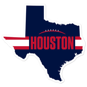 Houston Football Texas Outline Sticker (Blue Design)