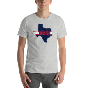 Houston Football Texas Outline Short-Sleeve Unisex T-Shirt (Blue Design)