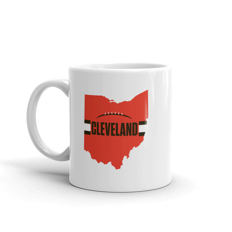 Cleveland Football Ohio Outline Mug (Orange Design)