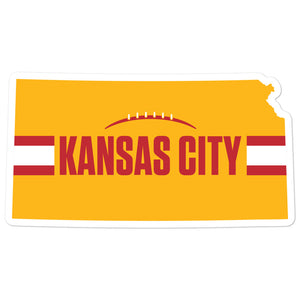 Kansas City Football Kansas Outline Yellow Sticker Decal 4 x 4