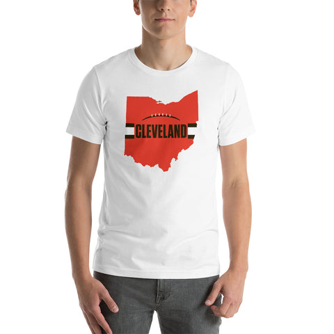 Cleveland Football Ohio Outline Short-Sleeve Unisex T-Shirt (Orange Design)