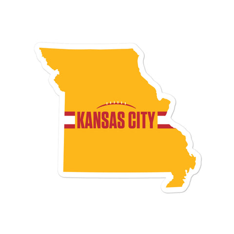 Kansas City Football Missouri Outline Yellow Sticker 5.5 x 5.5