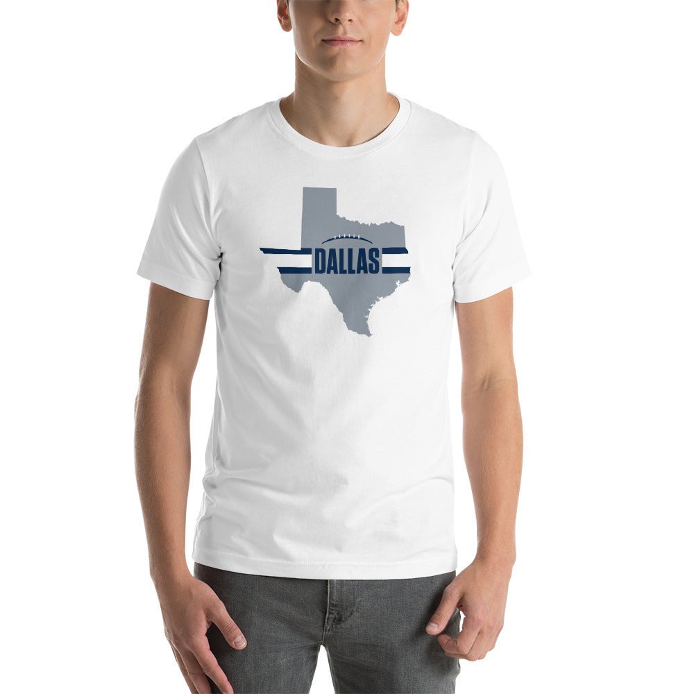 Dallas Football Texas Outline Short-Sleeve Unisex T-Shirt (Silver Design)