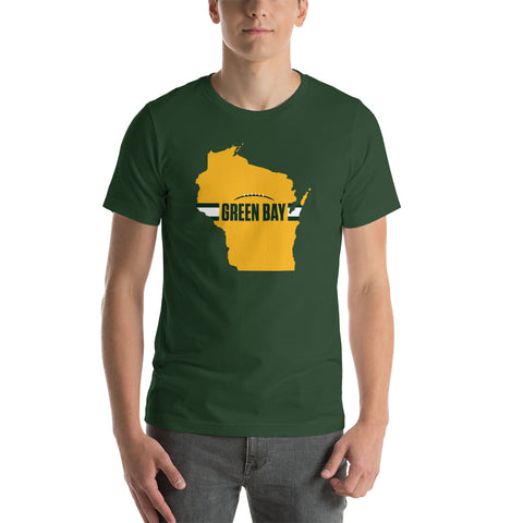 Green Bay Football Wisconsin Outline Short-Sleeve Unisex T-Shirt (Yellow Design)