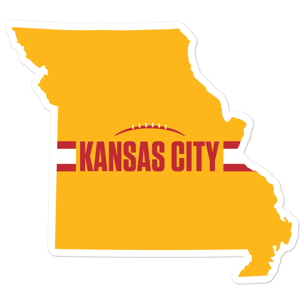Load image into Gallery viewer, Kansas City Football Missouri Outline Yellow Sticker 4 x 4