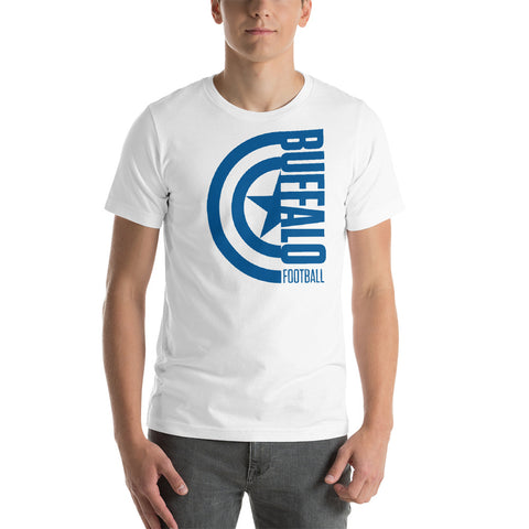 Captain Buffalo Football Short-Sleeve Unisex T-Shirt (Blue Design)