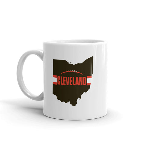 Cleveland Football Ohio Outline Mug (Brown Design)