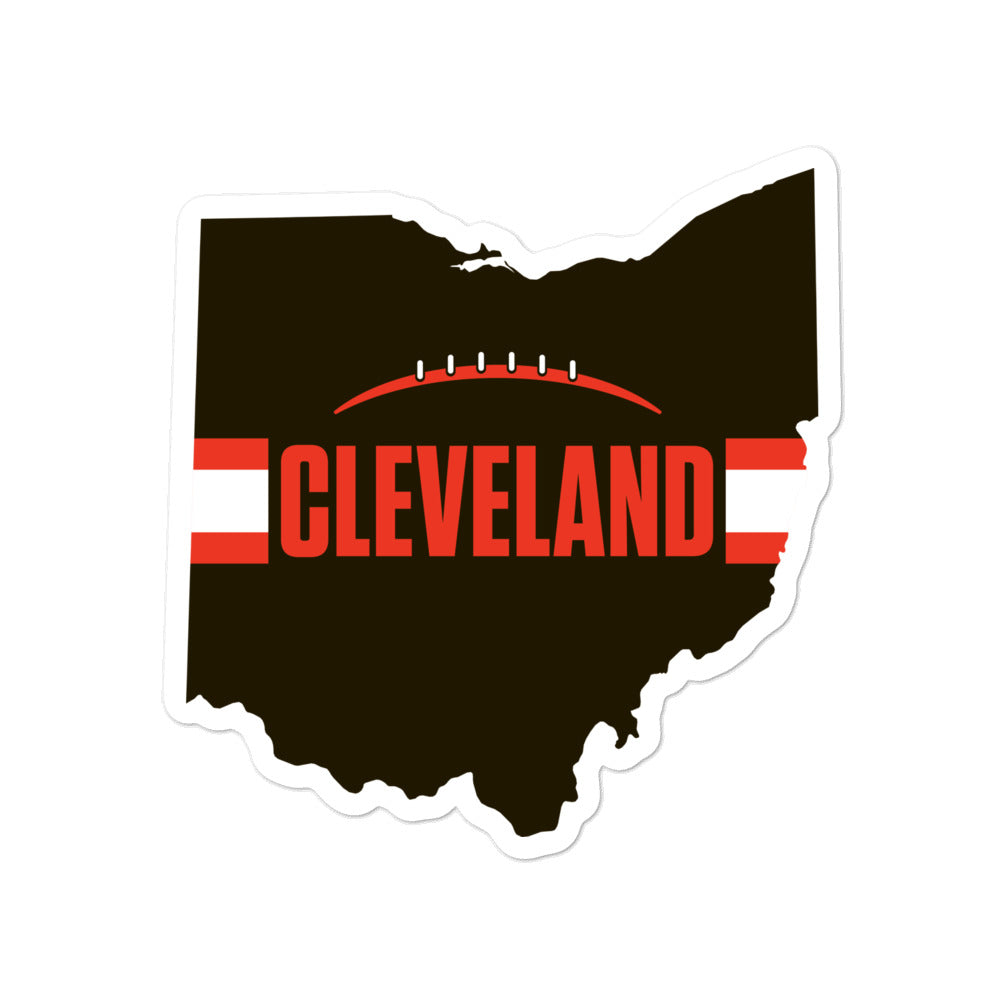 Cleveland Football Ohio Outline Sticker (Brown Design)
