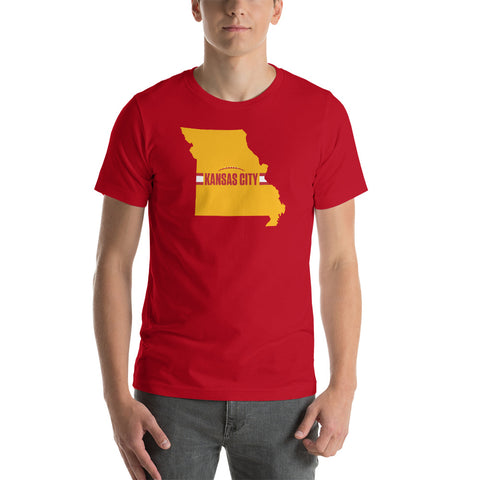 Kansas City Football Missouri Outline Short-Sleeve Unisex Red T-Shirt - Yellow Design