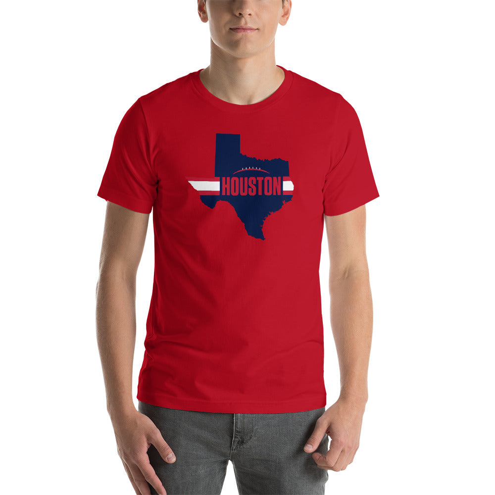 Load image into Gallery viewer, Houston Football Texas Outline Short-Sleeve Unisex T-Shirt (Blue Design)