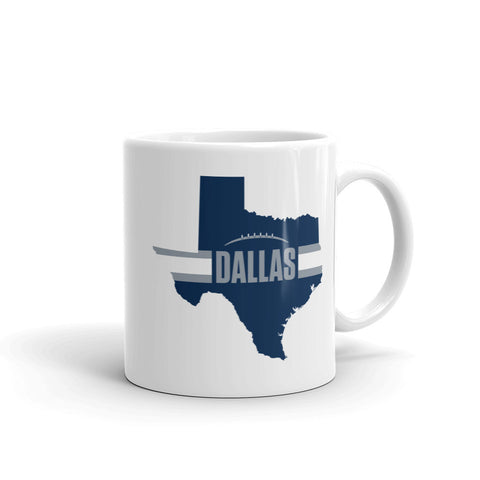 Dallas Football Texas Outline Mug (Blue Design)