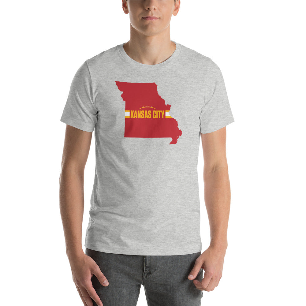 Kansas City Football Missouri Outline Short-Sleeve Unisex Athletic Heather T-Shirt - Red Design