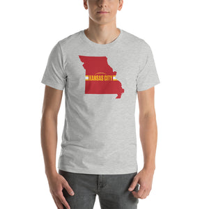 Load image into Gallery viewer, Kansas City Football Missouri Outline Short-Sleeve Unisex Athletic Heather T-Shirt - Red Design