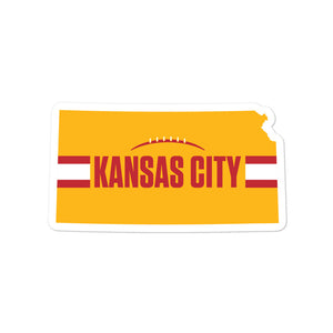 Kansas City Football Kansas Outline Yellow Sticker Decal 5.5 x 5.5