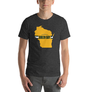 Load image into Gallery viewer, Green Bay Football Wisconsin Outline Short-Sleeve Unisex T-Shirt (Yellow Design)