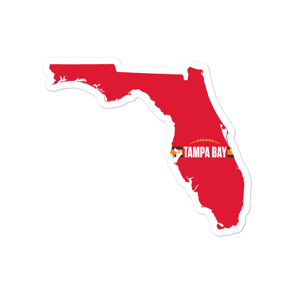 Tampa Bay Football Florida Outline Sticker (Red Design)