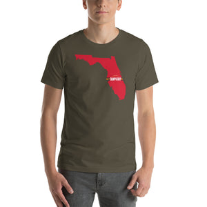 Tampa Bay Football Florida Outline Short-Sleeve Unisex T-Shirt (Red Design)