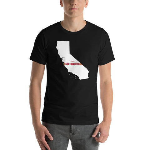 San Francisco Football California Outline Short-Sleeve Unisex T-Shirt (White Design)