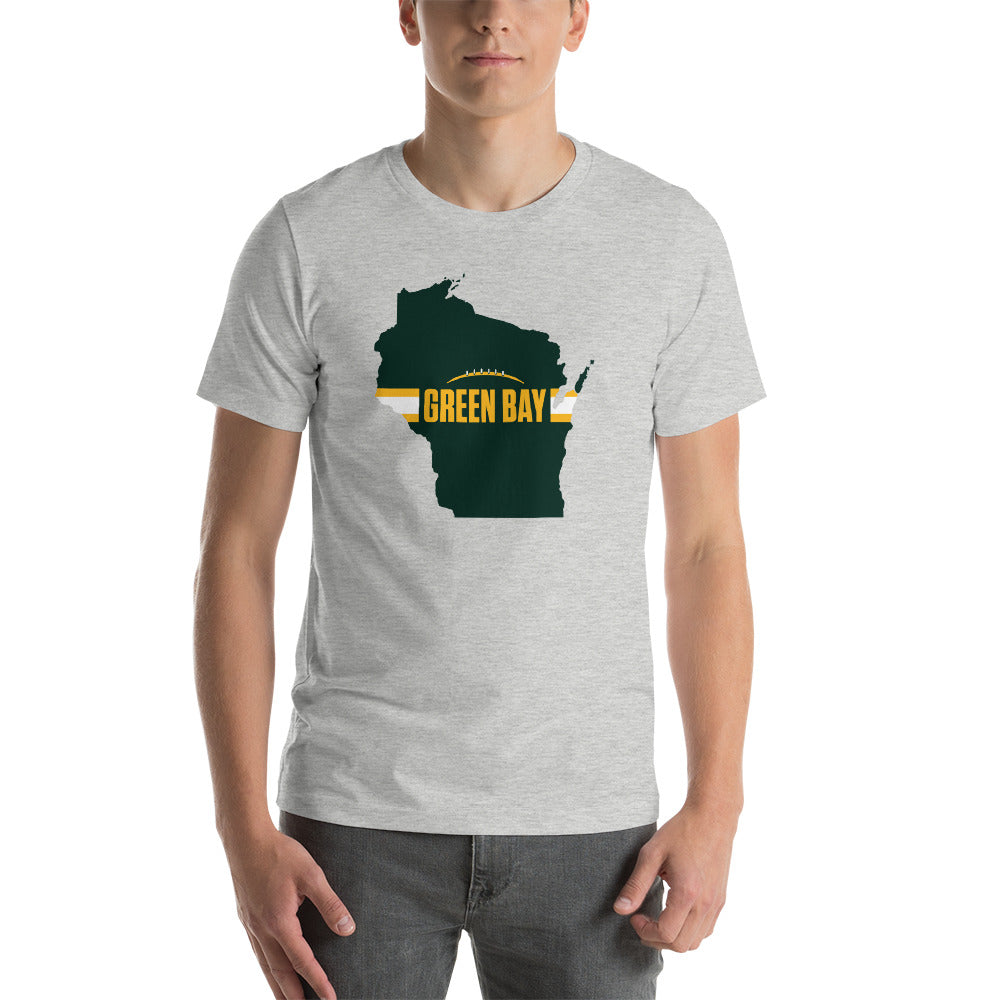 Green Bay Football Wisconsin Outline Short-Sleeve Unisex T-Shirt (Green Design)