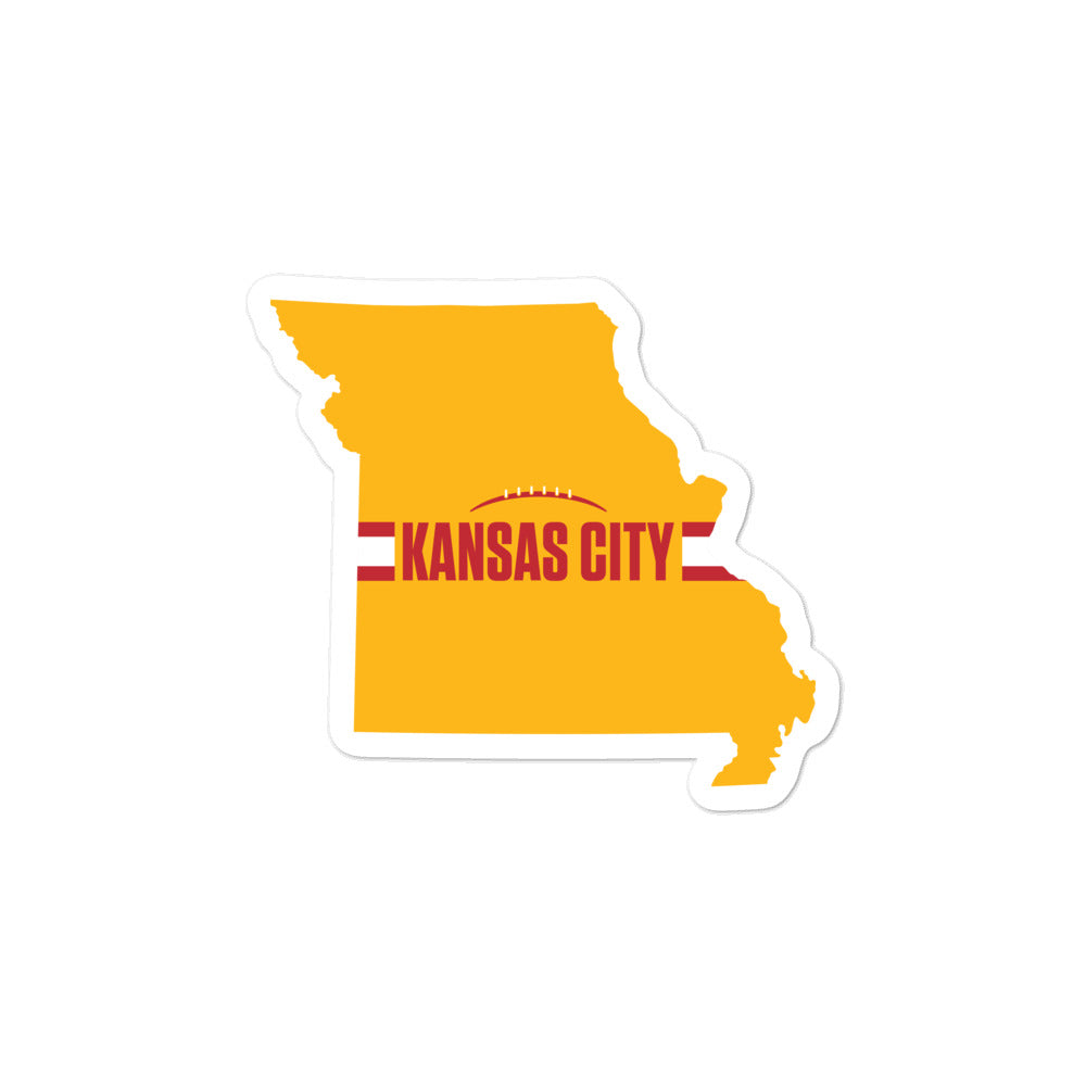 Load image into Gallery viewer, Kansas City Football Missouri Outline Yellow Sticker 3 x 3